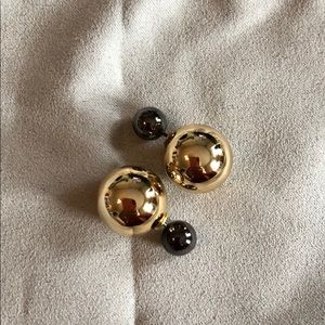 Gold and pewter bauble earrings